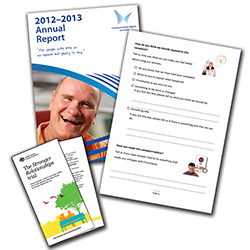 A montage of different documents including a report, a brochure and a form